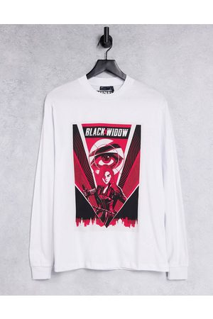 ASOS Marvel long sleeve t-shirt with Black Widow print in white