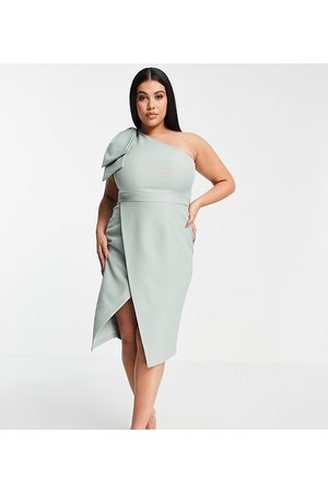 Lavish Alice Plus Exclusive one shoulder bow detail midi pencil dress in sage green