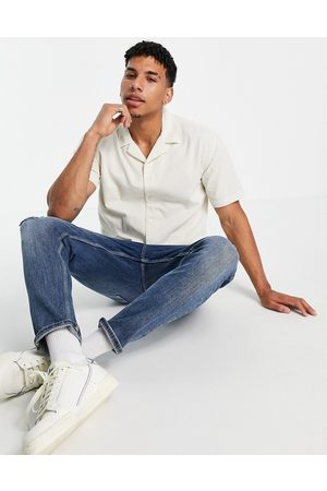 New Look Short sleeve cord shirt in off white