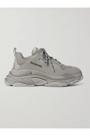 BALENCIAGA Triple S Mesh and Faux Leather Sneakers