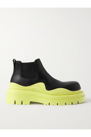 BOTTEGA VENETA Tire Rubber-Trimmed Leather Chelsea Boots