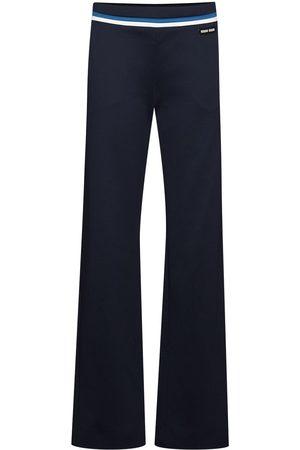 Miu Miu Senhora Calças Formal - Stripe-detail logo-patch tailored trousers