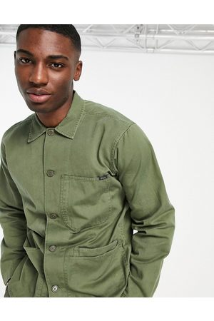 Polo Ralph Lauren Homem Casual - Twill player logo patch pocket over shirt custom regular fit in army olive-Green