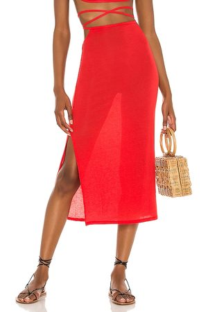 WeWoreWhat Cutout Midi Skirt in - Red. Size L (also in S, M, XS).