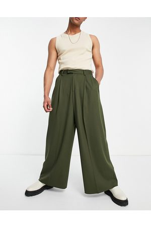 ASOS High waisted extreme wide smart trouser in khaki-Green