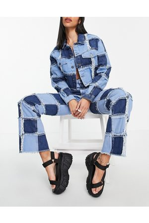 The Ragged Priest Straight leg jeans in patchwork check denim-Blue