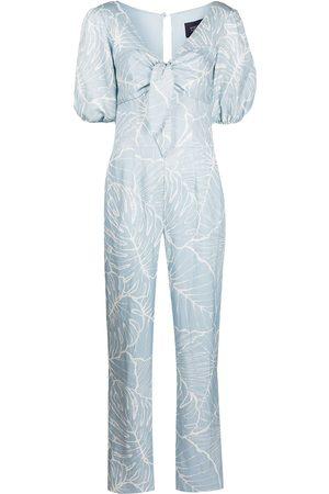 Marchesa Notte Senhora Macacões - Leaf-print jumpsuit