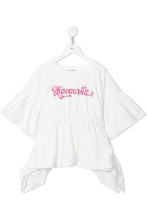 MONNALISA Menina T-shirts & Manga Curta - Logo-print ruffled top
