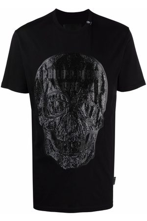 Philipp Plein Homem T-shirts & Manga Curta - Crystal embellished skull T-shirt
