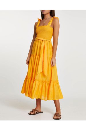 River Island Senhora Vestidos Casual - Shirred midi beach dress in orange