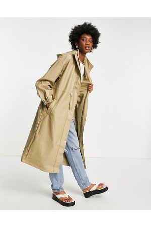 ASOS Faux leather slouchy parka coat in camel-Black