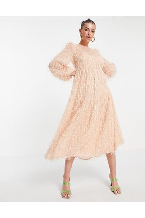ASOS DESIGN Tiered midi dress in fluffy texture in pink