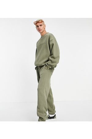 Collusion Oversized joggers with embroidered logo in khaki co-ord-Green