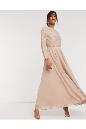 ASOS Bridesmaid maxi dress with long sleeve in pearl and beaded embellishment with tulle skirt-Multi