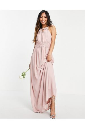 Vila Senhora Vestidos com Decote Halter - Bridesmaid maxi halterneck dress in pink