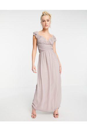 Little Mistress Senhora Vestidos de Festa - Embellished flutter sleeve twist waist maxi dress in oyster grey