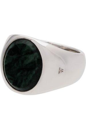 Tom Wood Homem Anéis - Metallic oval green marble sterling ring