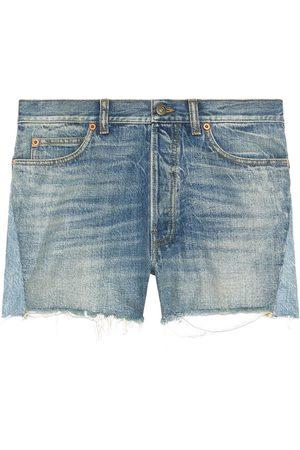 Gucci Patchwork detailing frayed denim shorts