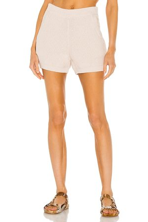 Weekend Stories Hilary Knit Shorts in - Cream. Size L (also in XS, S, M, XL).
