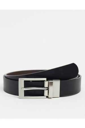 ASOS DESIGN Homem Cintos - Reversible slim belt in brown and black faux leather with silver buckle-Multi