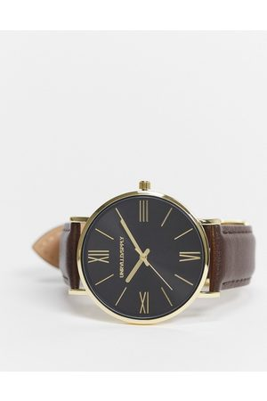ASOS Classic watch with gold highlights and leather strap in brown