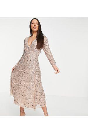 Maya Embellished wrap midi dress in blush-Pink