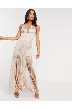 ASOS DESIGN Senhora Vestidos de Festa - Halter fringe maxi dress-Pink