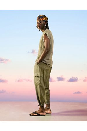 ASOS DESIGN Homem Calças Cargo - Drop crotch cargo linen mix trousers in khaki-Green