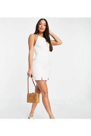 ASOS Tall Senhora Vestidos com Decote Halter - ASOS DESIGN Tall soft denim halterneck slip dress in white