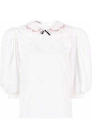Miu Miu Senhora Blusas - Rounded-collar puff-sleeve blouse