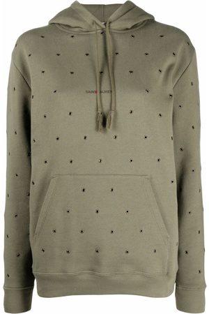 Saint Laurent Eyelet-embellished hoodie