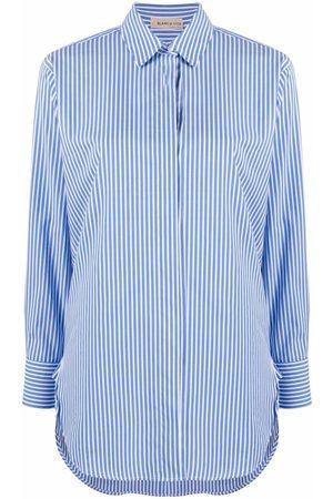 BLANCA Stripe-print cotton-blend shirt