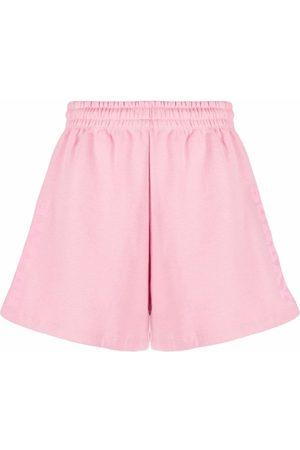 ROTATE Senhora Calções - Organic cotton embroidered-logo shorts