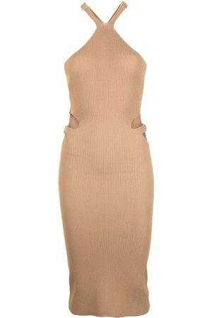 DION LEE Lustrate Fork ribbed-knit dress