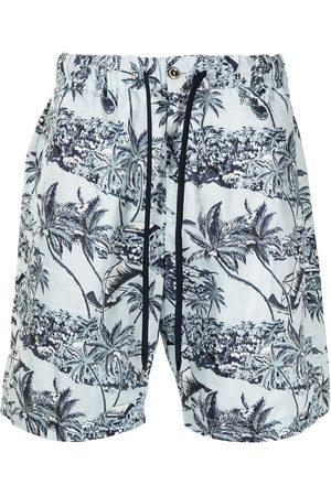 PT01 Homem Calções - Botanical-print cotton deck shorts