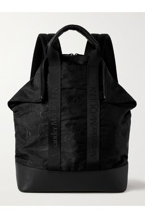 ALEXANDER MCQUEEN Homem Mochilas - Leather and Logo Webbing-Trimmed Embroidered Nylon Backpack