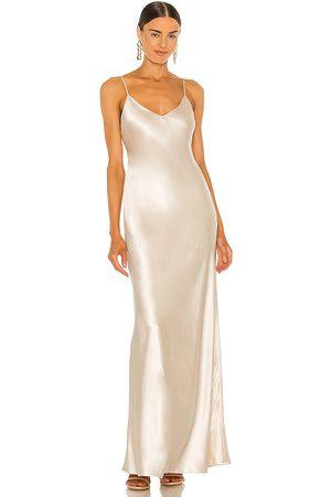 L'Agence Serita Maxi Bias Dress in - Metallic Neutral. Size 0 (also in 2, 4, 6, 8).
