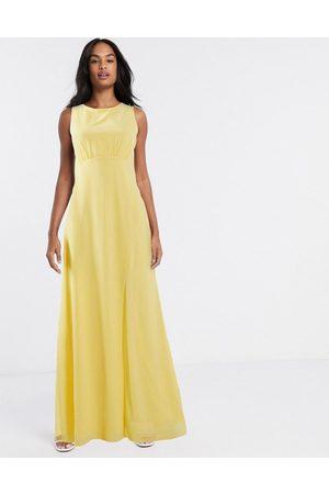 TFNC Bridesmaid cowl back maxi dress in lemon-Yellow