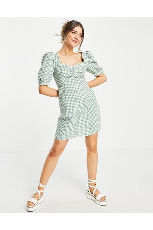 Nobody's Child Senhora Vestidos de Verão - Mini tea dress with puff sleeves in green gingham