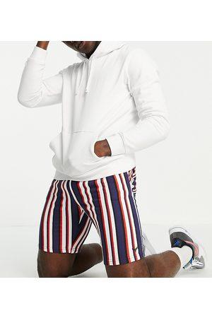 Threadbare Homem Calções - Tall co-ord stripe shorts in red navy and white-Multi