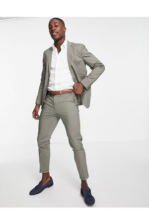 jack & jones Homem Calças Justas - Premium slim fit cropped suit trousers in green
