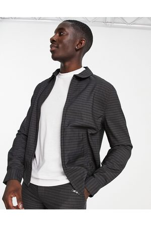 ASOS Homem Casacos - Co-ord smart harrington jacket with crosshatch check in blue and grey