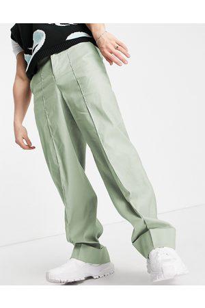 ASOS Homem Calças à Boca-de-sino - Wide smart trousers in green linen