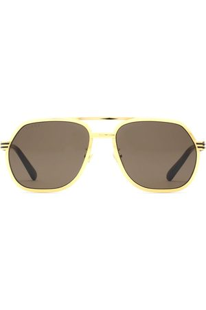 Gucci Homem Óculos de Sol - Double bridge navigator-frame sunglasses