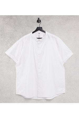 River Island Big & Tall short sleeve oxford shirt in white