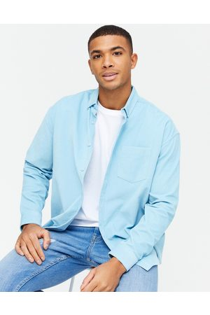 New Look Long sleeve oversized cord shirt in blue