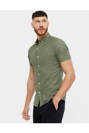 New Look Short sleeve muscle fit oxford in khaki-Green