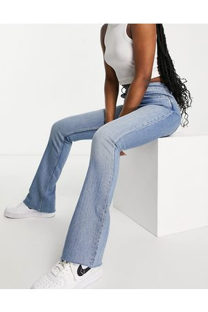 ASOS High rise '70's' stretch flare jeans in lightwash-Blue