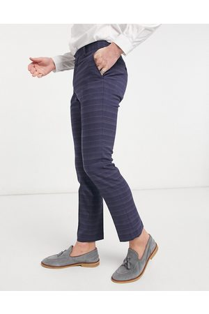 French Connection Slim fit marine check suit trousers-Navy
