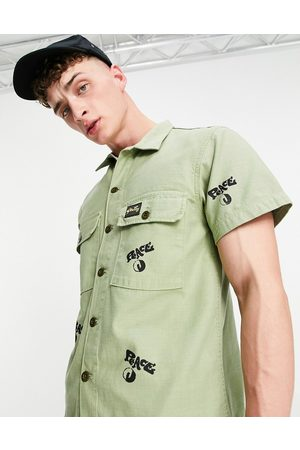 Stan Ray Shirt with all over peace print in khaki green
